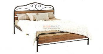 Κρεβάτι μεταλλικό με ξύλινη επένδυση